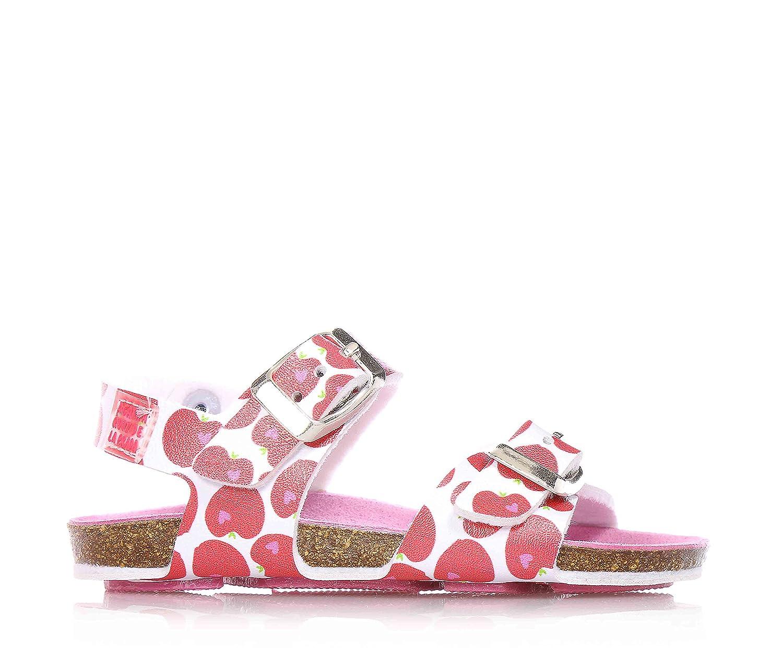 AGATHA RUIZ DE LA PRADA - Sandale blanche et rouge en cuir, avec boucle, doublure en cuir respirable, fille, filles, enfant