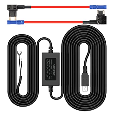 Pruveeo Hard Wire Kit for Dash Cam with 2 Fuse Tap Cable, Mini USB Port, 12V to 5V, DC 12V - 30V Car Charger Cable Kit: Home Audio & Theater