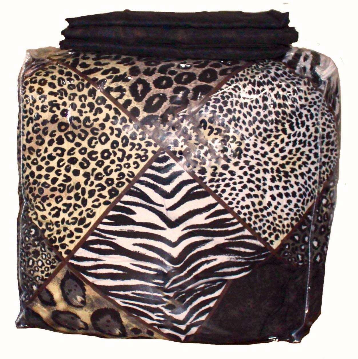 Martha's Mixed Bag Safari Animal Print Brown Patchwork Comforter Set with Sheets Jaguar Leopard Zebra (8pc Full Size 76'' x 86'') by Martha's Mixed Bag
