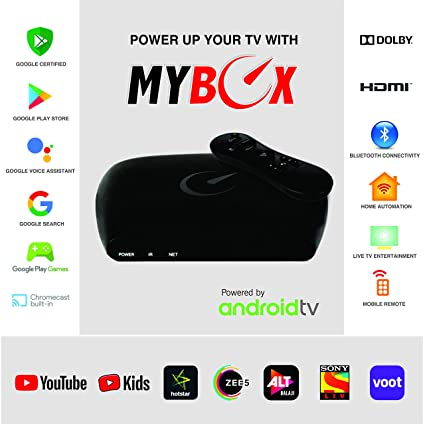 My Box Android TV Box 8 0 with Amlogic S805, 8GB Memory, 1080p Full HD    Google Assistant Voice Remote   Streaming Media Player   2 USB Ports  