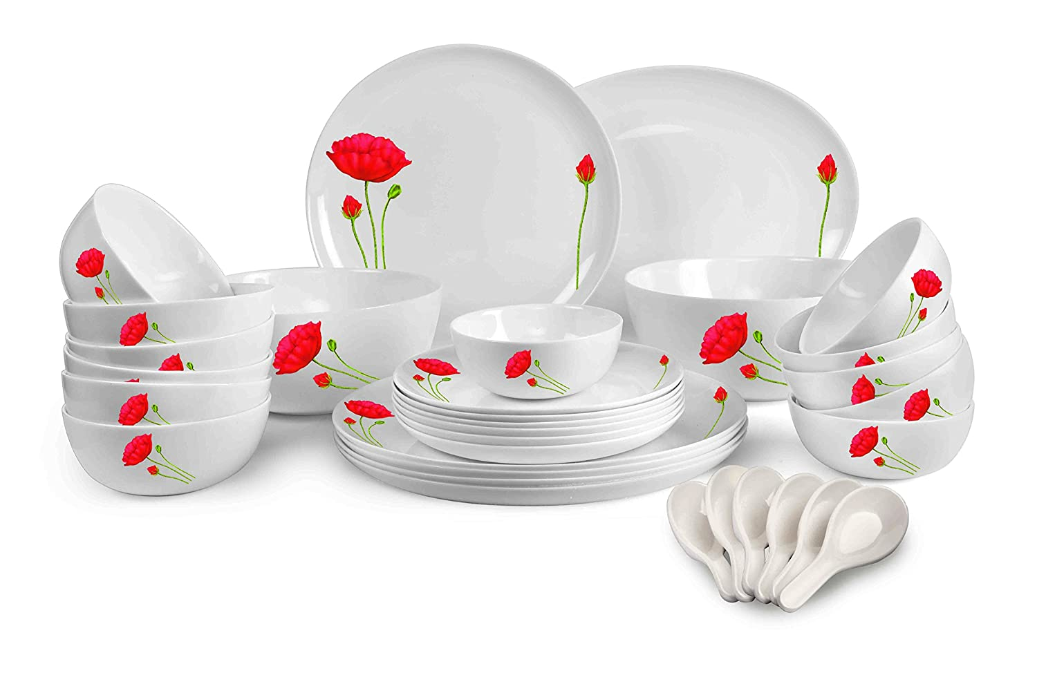 Cello Monarch Red Poppy Opalware Dinner Set, 33-Pieces, White