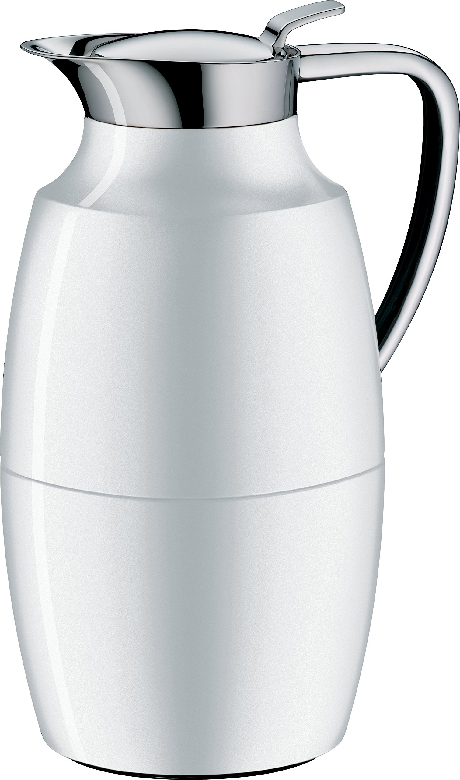 alfi Pallas Glass Vacuum Lacquered Metal Thermal Carafe for Hot and Cold Beverages, 1.0 L, Polar White