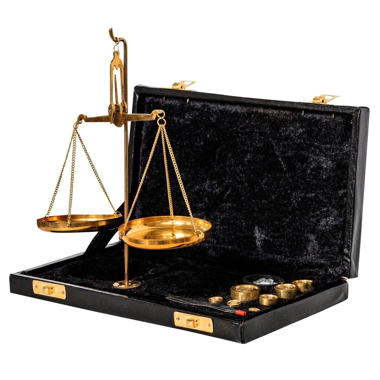 Waage Feinwaage Goldwaage Balkenwaage Messing Apothekerwaage 17cm Antik-Stil