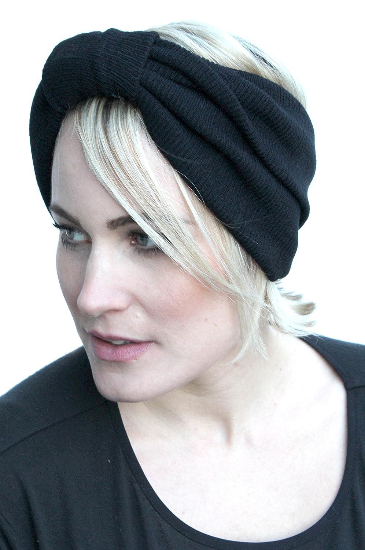 Black Warm Knitted Warm 50s Vtg Winter Headband Dread Turban Burlesque Head Wrap