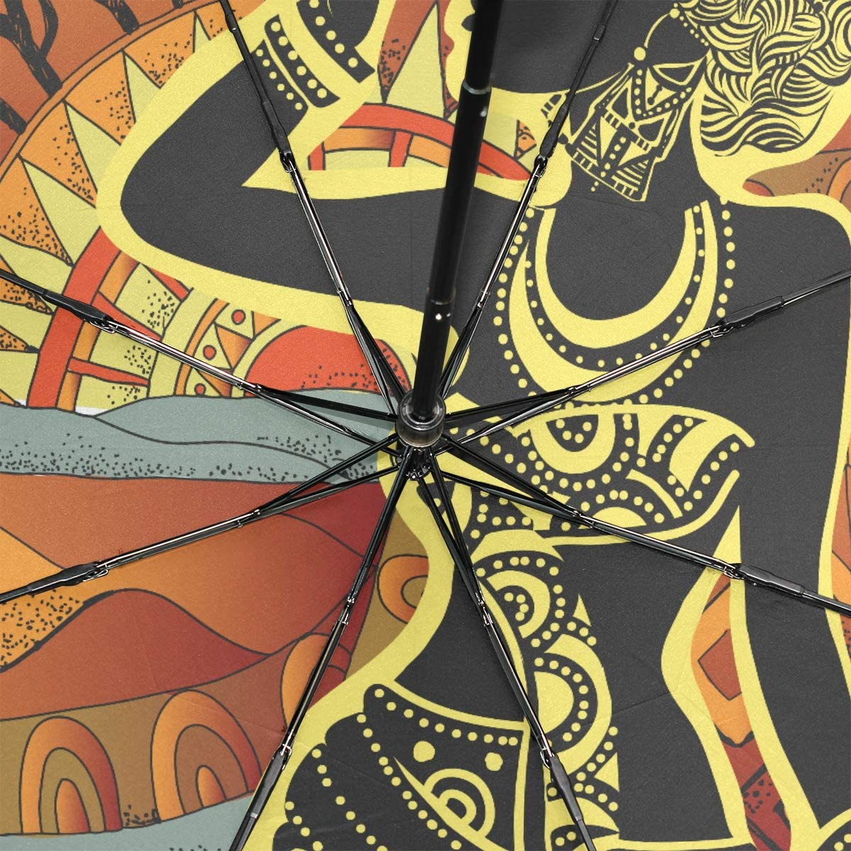 Travel Umbrella Inverted Beautiful African Girl On African Portable Compact Folding Umbrella Anti Uv Protection Windproof Outdoor Travel Women Raining Umbrella