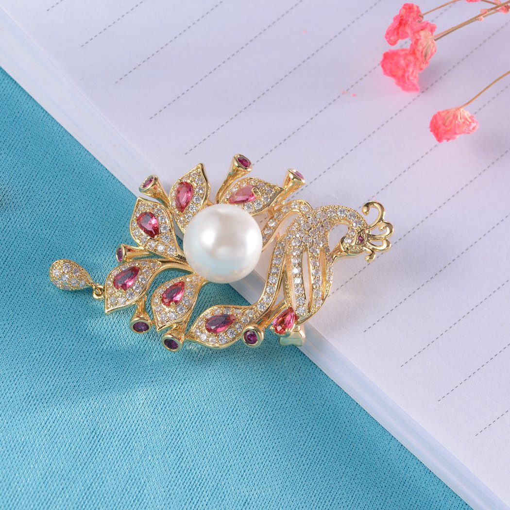 Romantic Time Animals Brooch Lapel Pin Rhinestone Shell Pearl Brooches Pins