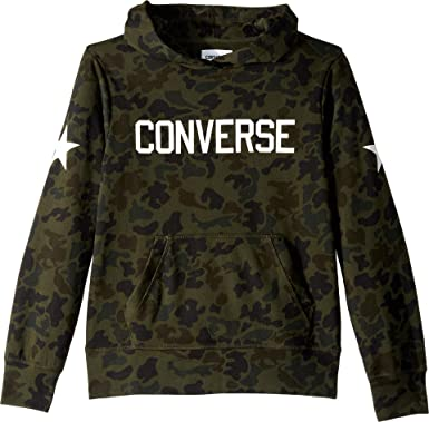 f69ac06d630baf Amazon.com  Converse Kids Mens Heritage Camo Pullover Hoodie (Big Kids)   Clothing