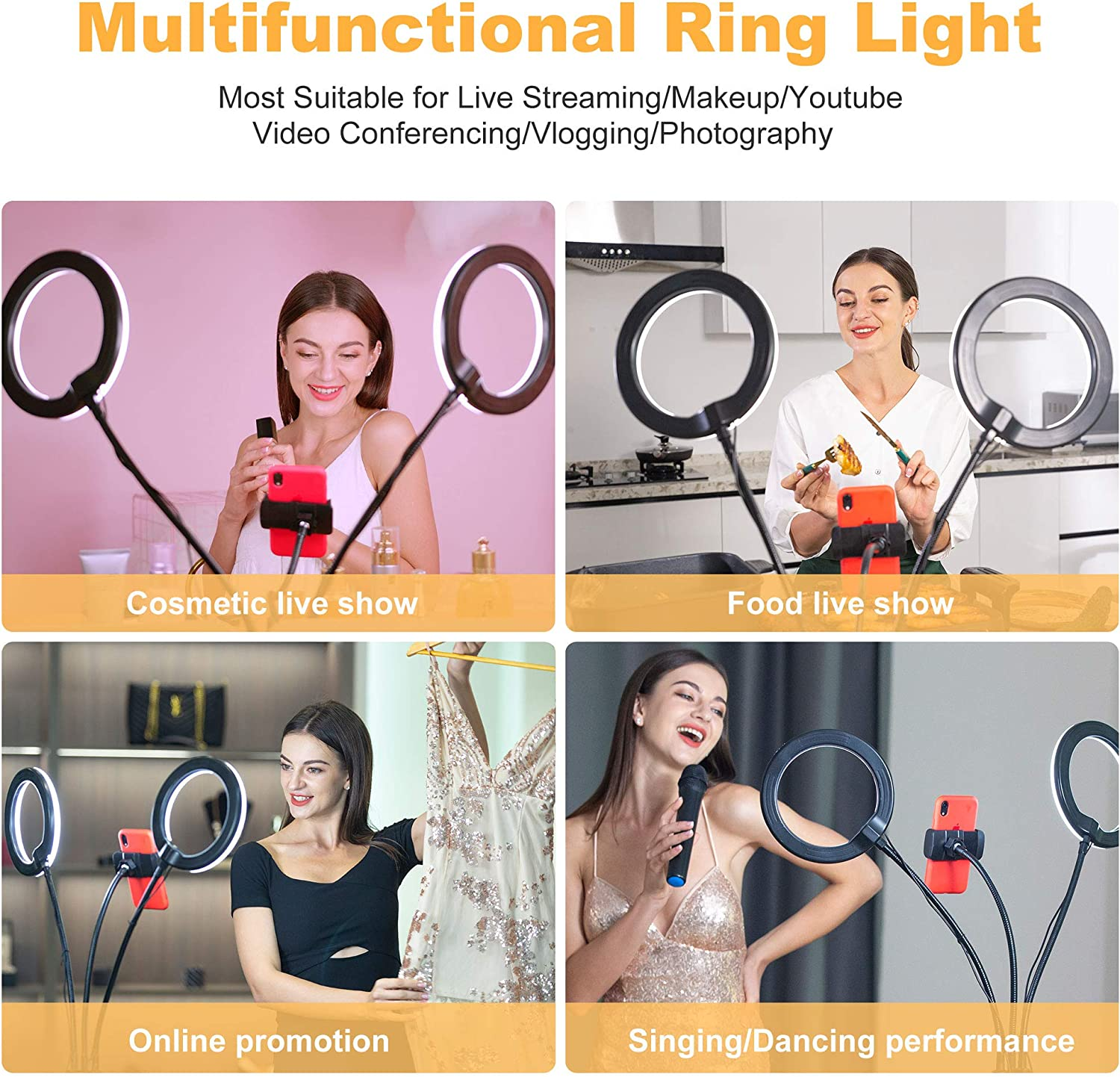 AYIZON Double Ring Light with Stand,Dual 8 Selfie Light for Video Conference Recording for Remote Working//Makeup//Photography//Live Streaming//Zoom Call//Twitch Gaming