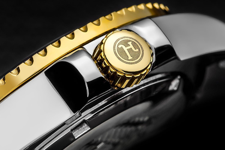 """Henry Jay Mens 23K Gold Überzug Solider Edelstahl Zwei Ton """"Specialty Aquamaster"""" Professionelle Taucheruhr mit Datum kaufen"""