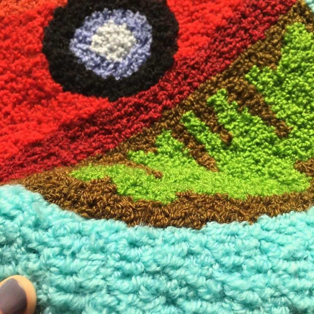 Ustide Cute Fish Rug Blue Handmade Bath Mat Animal Rugs for Kids Washable Non-Skid Floor Rugs for Bedroom Doormats 2x3