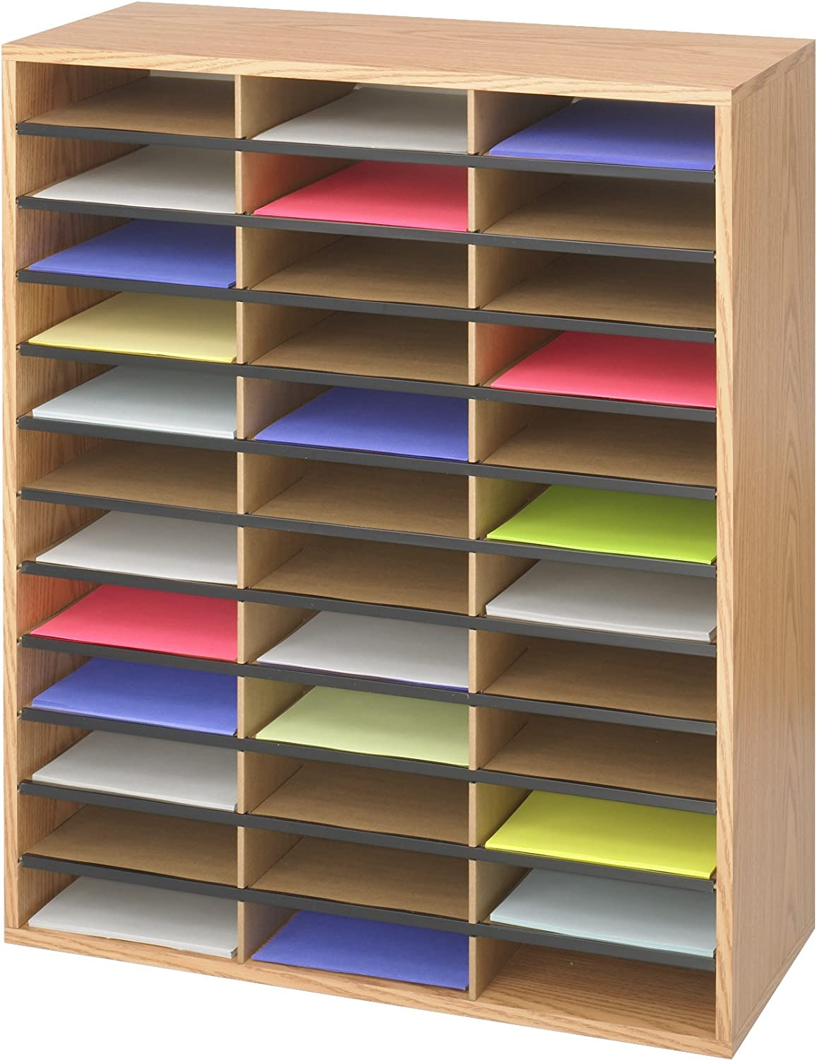 Safco Products Wood/Corrugated Literature Organizer, 36 Compartment 9403, Economical Organization, Letter-Size Compartments : Mail Box Shelves : Office Products