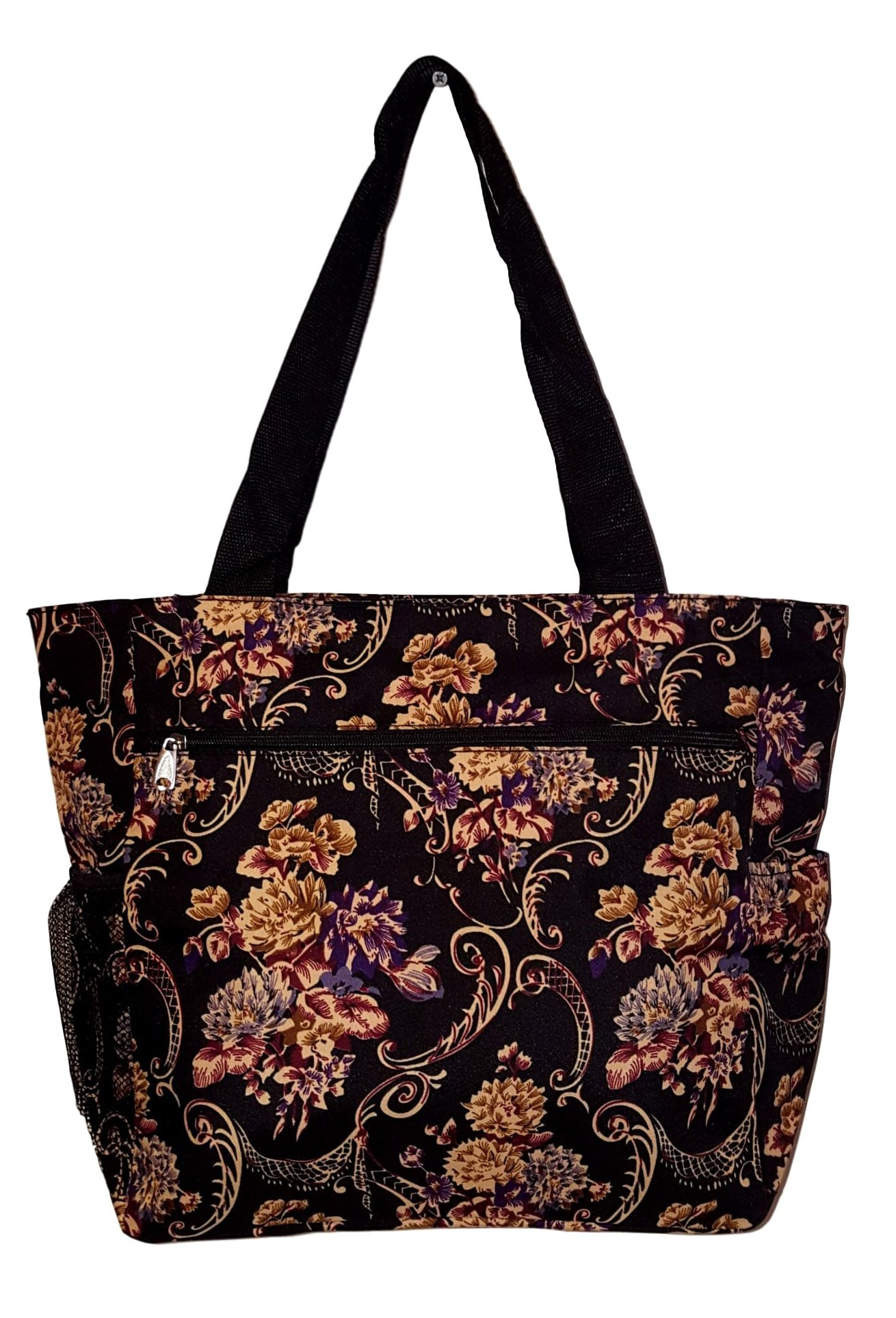 Large Multi - Pocket Fashion Zipper Top Organizing Beach Bag Tote - Custom Embroidery Available (Autumn Floral Print)