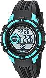 Armitron Sport Unisex 45/7095TBK Teal Accented Digital Chronograph Black Resin Strap Watch