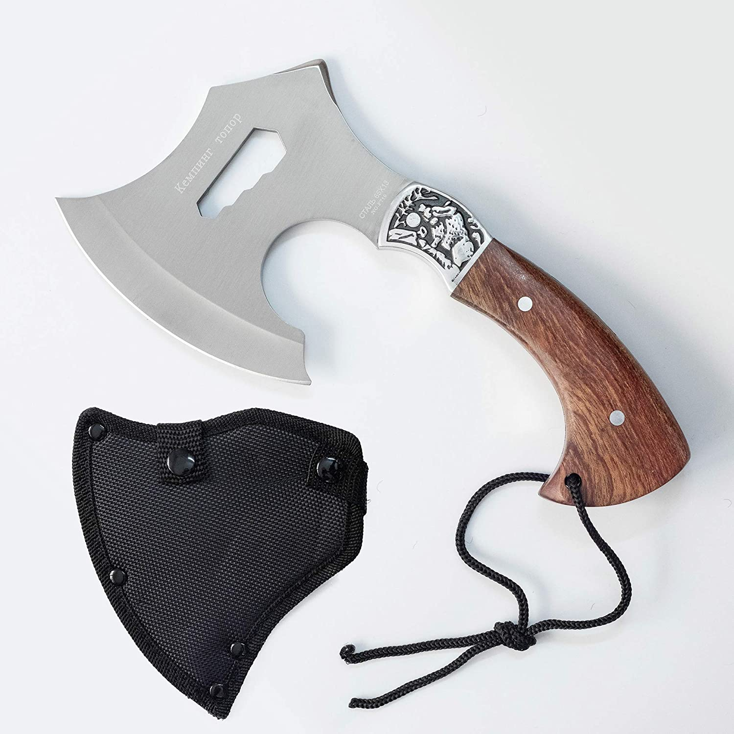 SUPCAMP Throwing Axe, Camping Axe with Sheath, Fixed Blade Full Tang Survival Hatchet with Nylon Sheath for Outdoor Camping, Hiking, Throwing, Tactical and Military Training