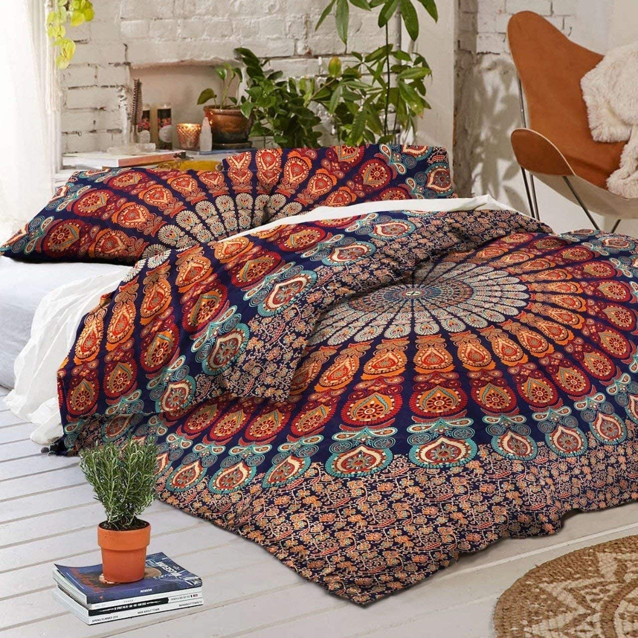 Traditional Jaipur Duvet Cover Queen Size Peacock Feather Mandala Doona Cotton Throw Bohemian Doona Cover Boho Quilt Cover