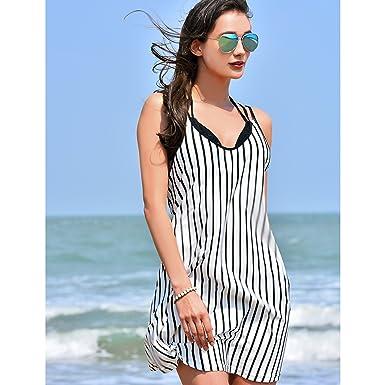 b95b214f60ce3 Women s Spaghetti Strap Striped Sheer Casual Party Mini Dress ...