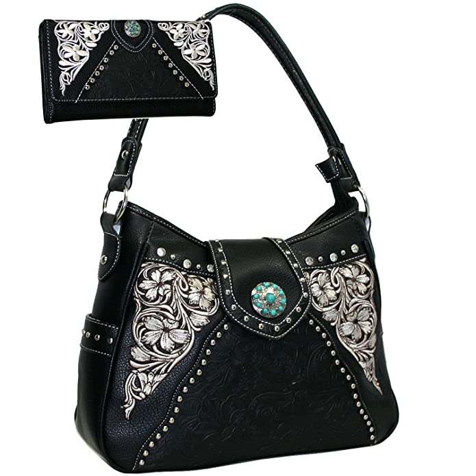 7d3df73775a2 Amazon.com  Western Turquoise Concho Accented Handbag Purse With Matching  Wallet - Black  Shoes