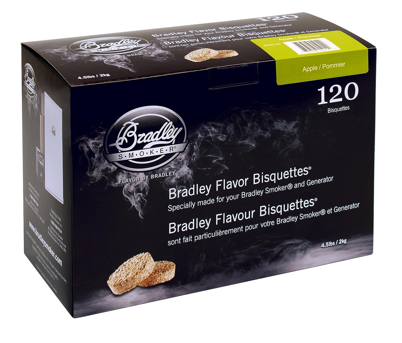 Bradley - Maderas de bisquettes para ahumador (sabor a manzana, 120 unidades) Bradley Smoker BTAP120