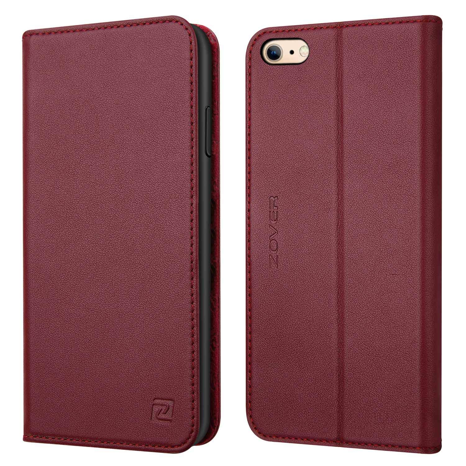 Zover iPhone 6S Plus Case iPhone 6 Plus case Genuine Leather Case Wallet Cover with Kickstand Feature Card Slots & ID Holder and Magnetic Closure for iPhone 6 Plus iPhone 6S Plus Wine Red