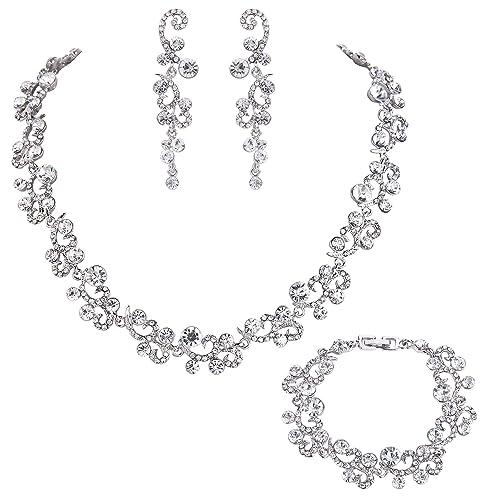 Collar de cristal austríaco con forma de flor - Conjunto de 3 piezas.