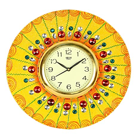Amazon.com: The Hue Cottage Wooden Wall Clock Indian Handmade Yellow ...