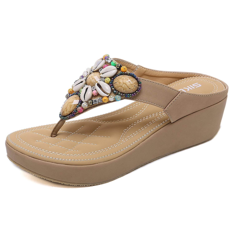 Woky Flip Flops Damen Sommer Zehentrenner mit Strass Perlen Bohemia Flach Clip Toe Pantoletten Grouml;szlig;e 34-44  37 EU|Beige-1