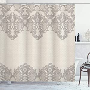 """Ambesonne Taupe Shower Curtain, Lace Like Framework Borders with Details Delicate Intricate Retro Dated Print, Cloth Fabric Bathroom Decor Set with Hooks, 75"""" Long, Taupe"""