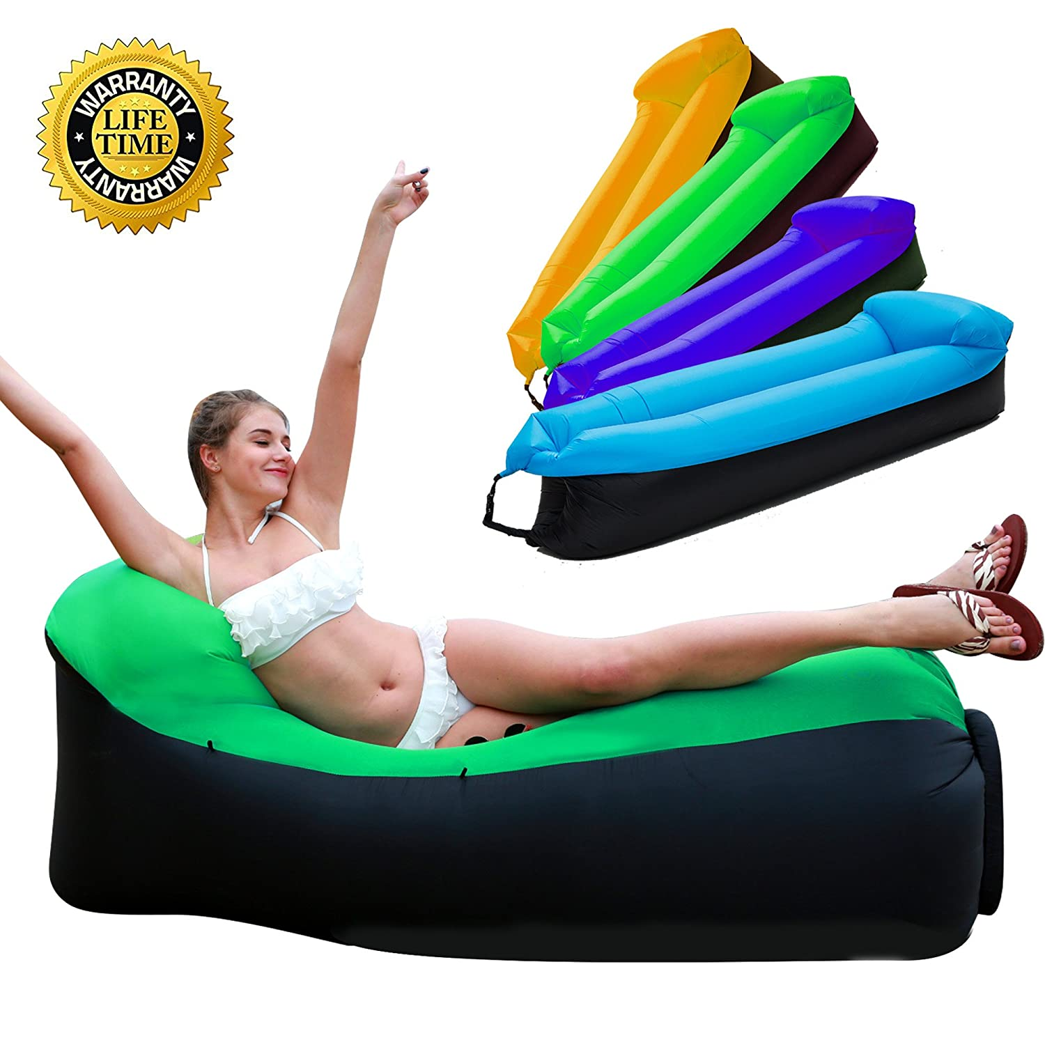 HAKE Inflatable Lounger Inflatable Couch Air Lounger Air Couch Water  Resistant Inflatable Hammock With Travel Bag For Outdoor And Indoor Use For  Camping, ...