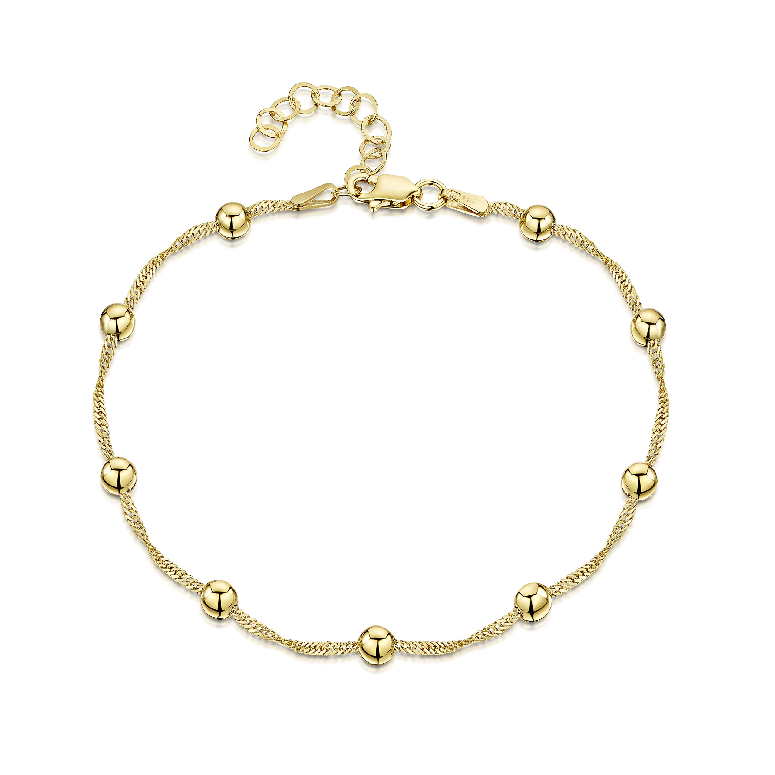 18K Gold Plated on 925 Fine Sterling Silver 1.4 mm Adjustable Anklet - Singapore Chain with 4 mm Ball Beads Ankle Bracelet - 9'' to 10'' inch - Flexible Fit