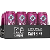 Sparkling Ice +Caffeine Black Raspberry Sparkling Water, with Antioxidants and Vitamins, Zero Sugar, 16 fl oz Cans (Pack of 1