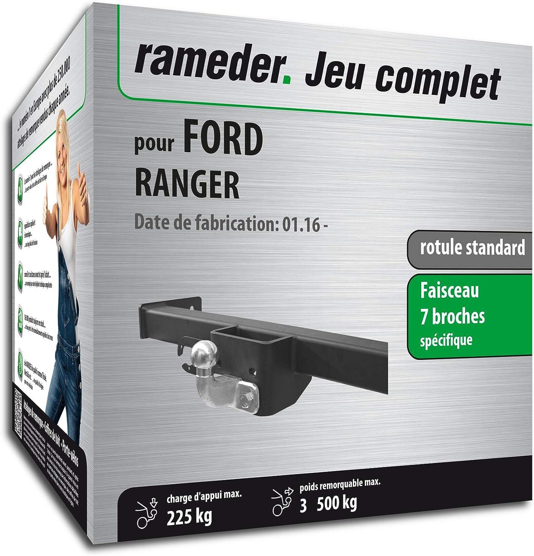 144154-09853-1-FR Faisceau /électrique 7 Broches Rameder Pack attelage rotule Standard 2 Trous pour Ford Ranger