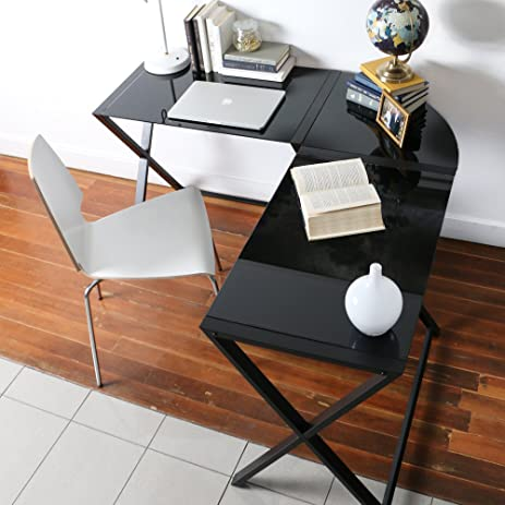 we furniture elite soreno glass corner computer desk black