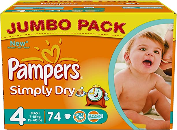 Jumbo+ Pack Pampers Baby-Dry Nappy Pants Size 4 74 Nappy Pants 9-15kg