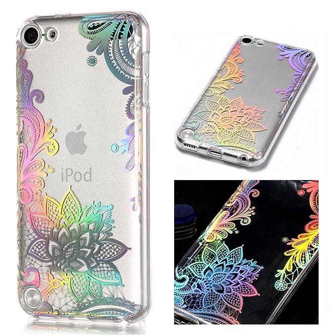 ZCRO TPU Hülle für iPod Touch 6G/5G, Handyhülle Ultra Dünn Case Silikon Schutzhülle Transparent Hüllen Slim Cover Blumen Must