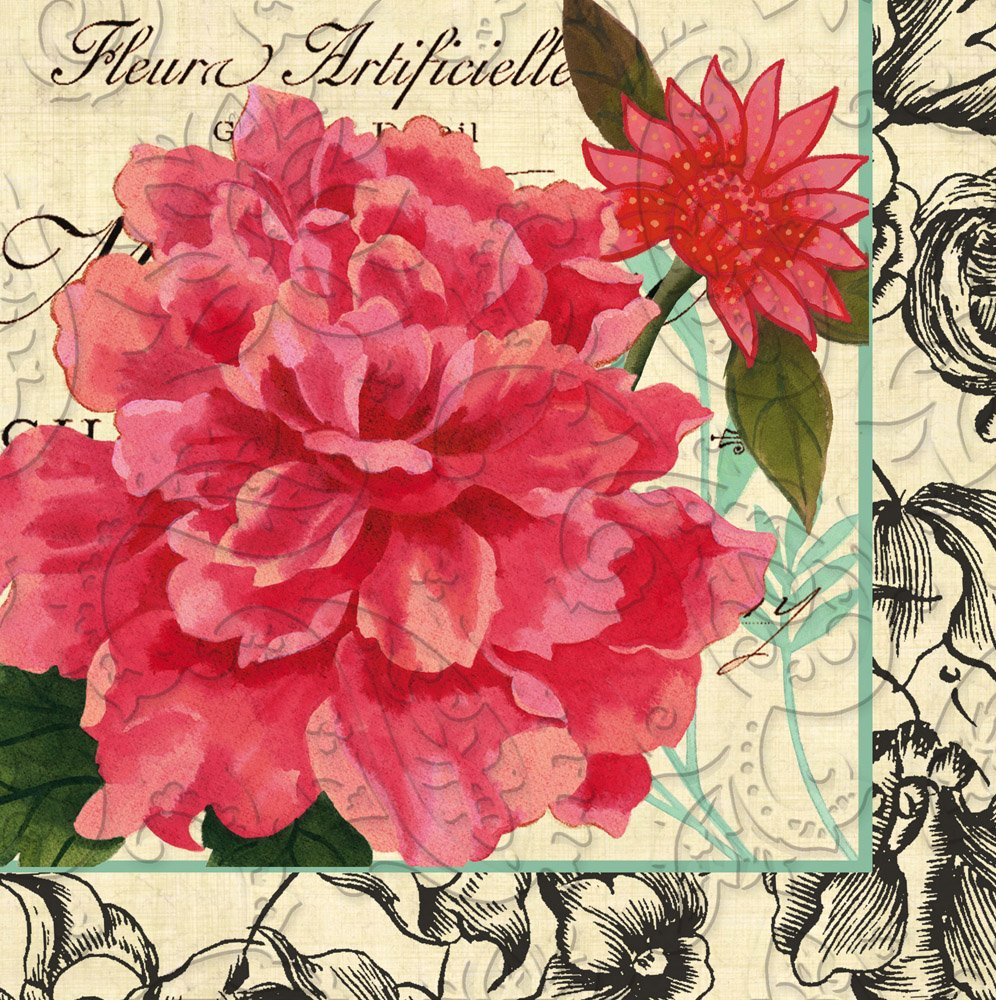 Cypress Home Vintage Floral Embossed Paper Luncheon Napkin, 20 count