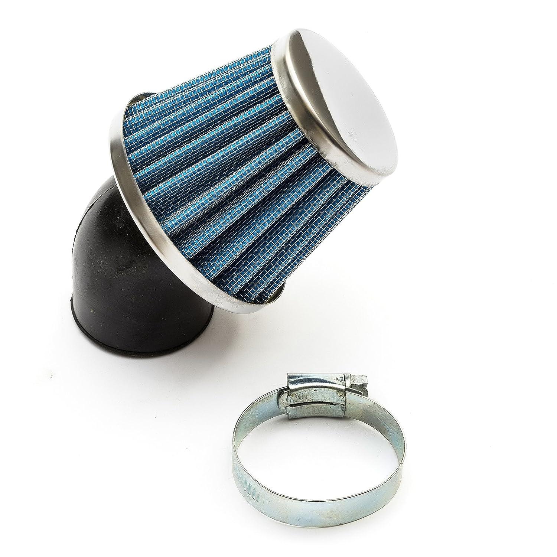 blu ad alto flusso a forma di fungo collo angolato Filtro dellaria per Pitbike 38 mm