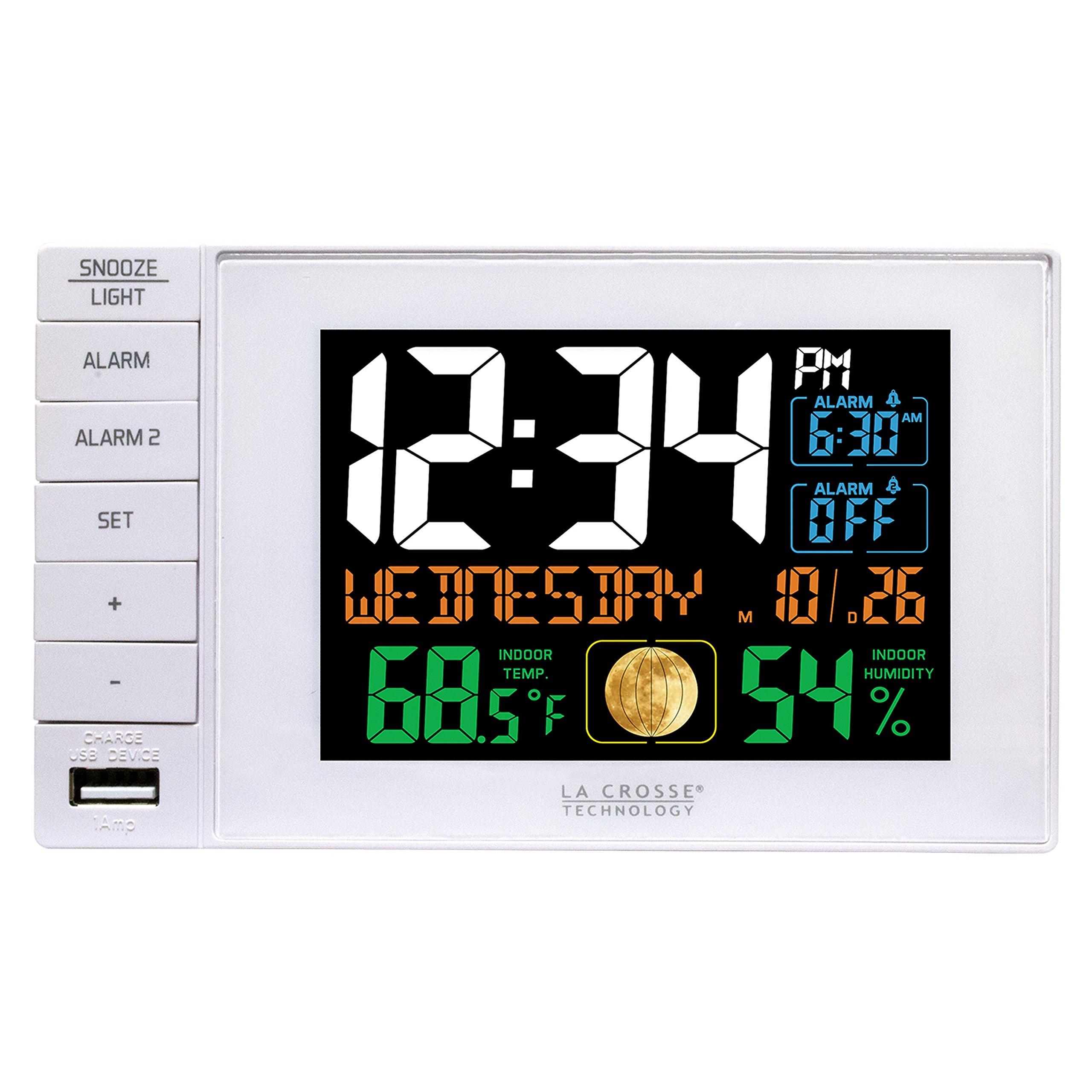 La Crosse Technology C87061 Color Dual Alarm Clock with USB Charging Port,
