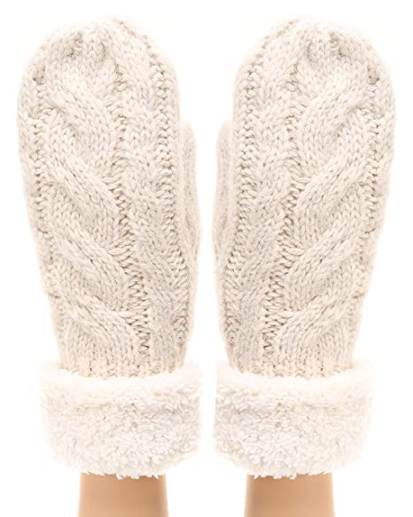 1f2df0462 MIRMARU Women's Winter Warm Gloves Classic Thick Cable Knit Mittens with  Soft Plush Lining