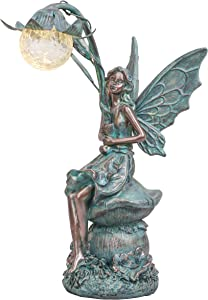 TERESA'S COLLECTIONS Large Fairy Garden Statue and Sculpture with Solar Powered Lights, Resin Outdoor Angel Garden Figurines Sitting on Mushroom for Lawn,Patio, Yard Decorations (Bronze)