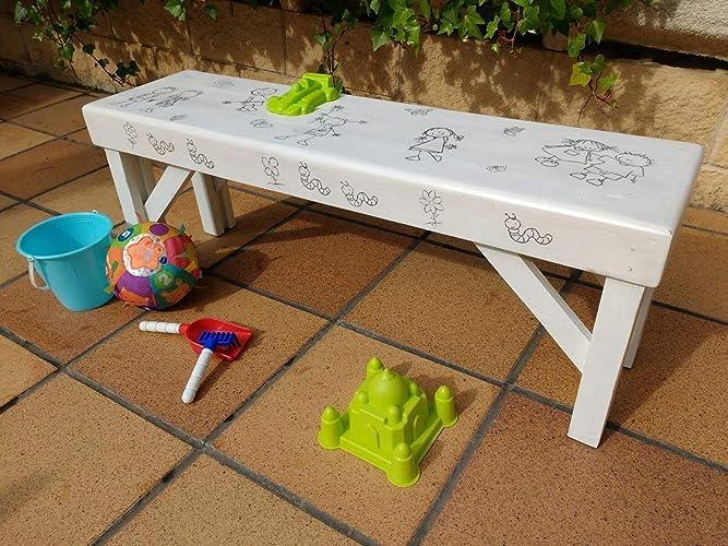 Banco infantil blanco de madera reciclada de palet hecho a ...