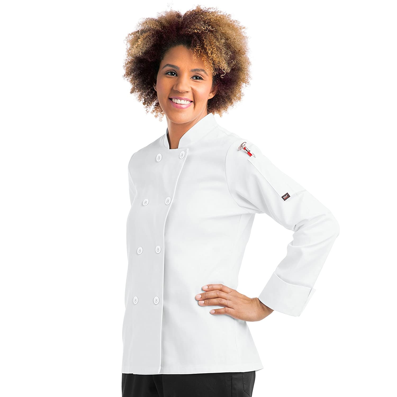 S-XL, 2 Colors Women/'s Long Sleeve Chef Coat