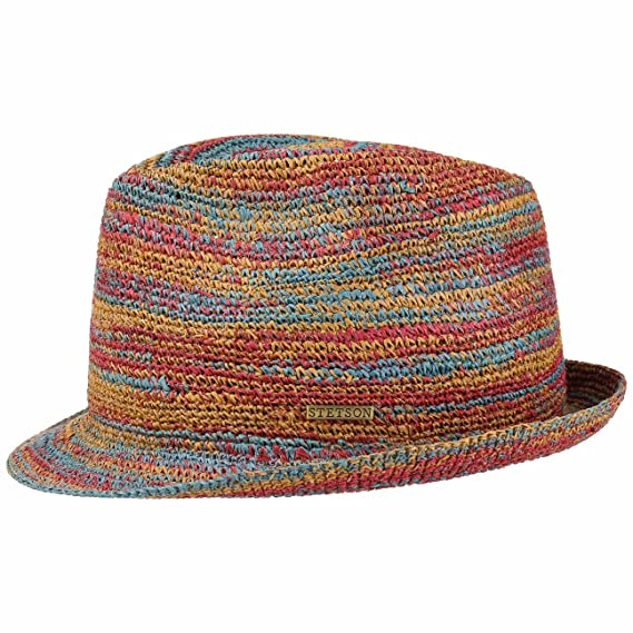 fdfc618bf3daa6 Stetson Monett Crochet Trilby Straw Hat Sun Beach (M (56-57 cm) - Mixed  Colours): Amazon.co.uk: Clothing