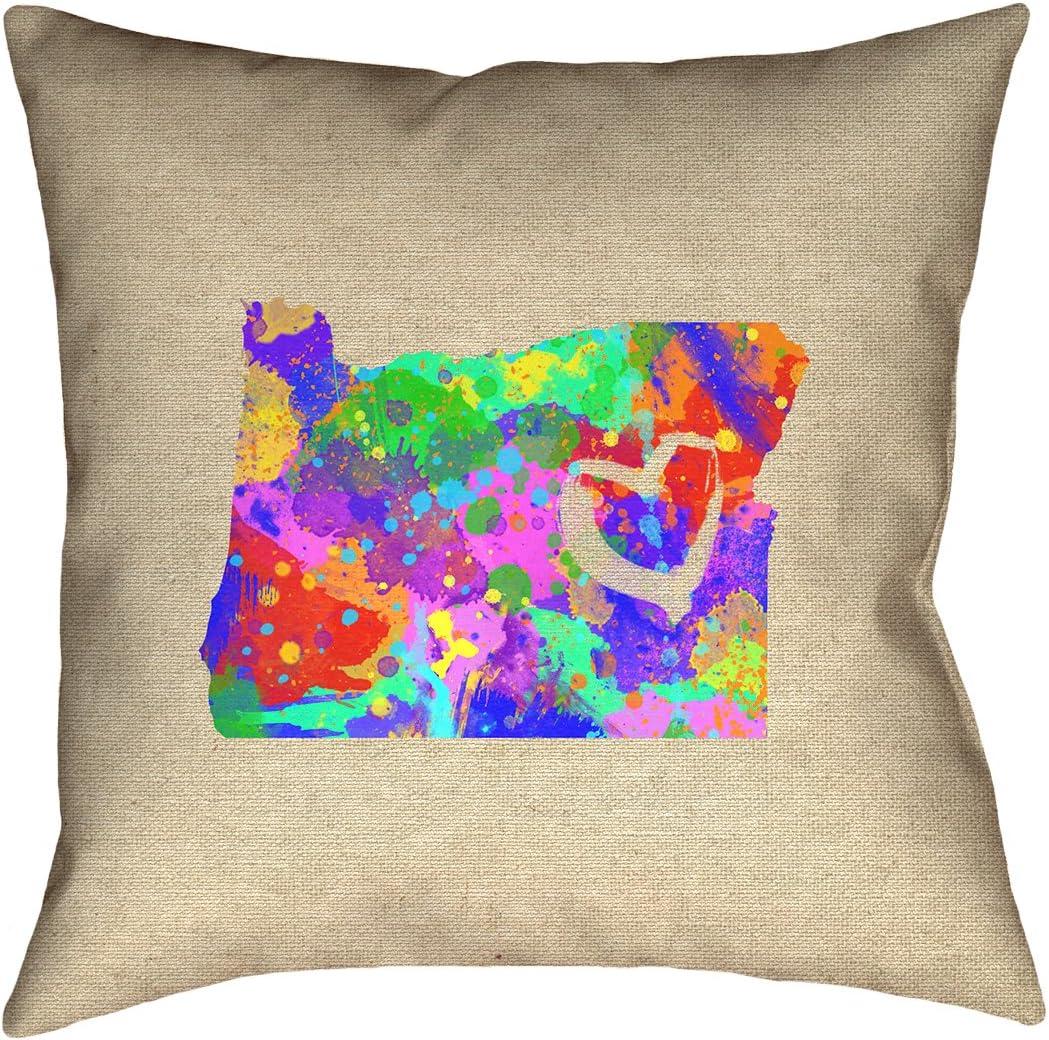 ArtVerse Katelyn Smith 18 x 18 Spun Polyester Double Sided Print with Concealed Zipper /& Insert Nebraska Watercolor Pillow