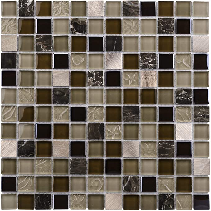 Amazon.com: MTO0210 Moderno mosaico cuadrado uniforme negro ...