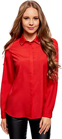 oodji Ultra Mujer Blusa Recta con Decoración en el Cuello: Amazon.es: Ropa y accesorios