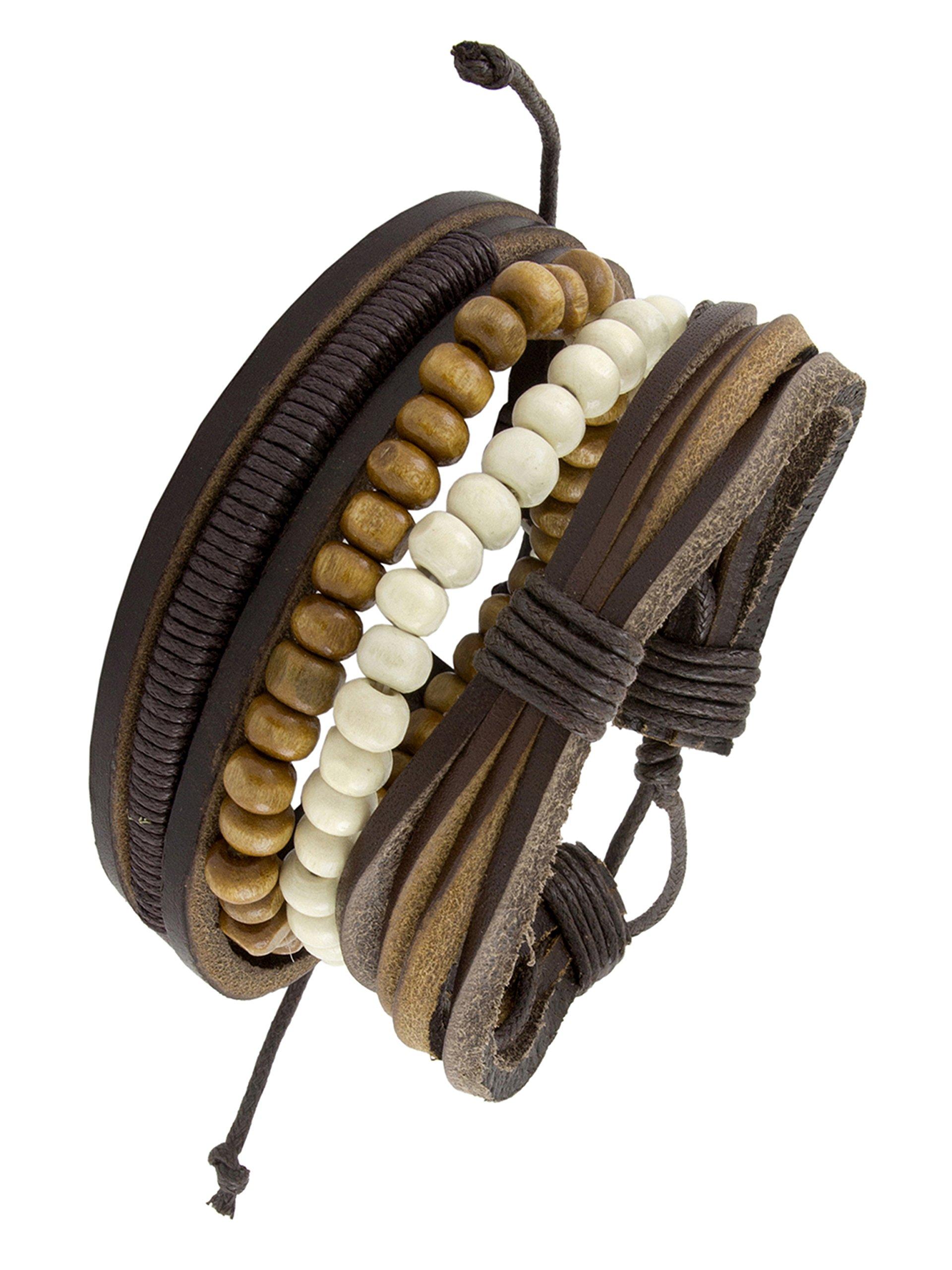 The Jewelbox Vintage Biker Multi Strand Brown Bead Leather Free Size Wrist Band Strap Bracelet Boys Men