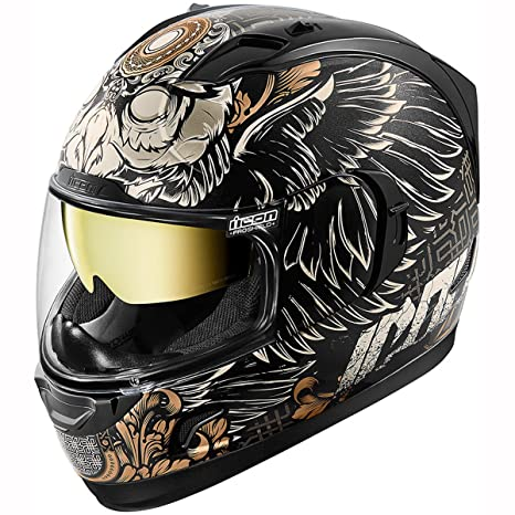Motorcycle Icon Alliance GT - Casco, color negro y dorado, 3XL