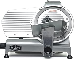 KWS MS-10NS Premium Commercial 320w Electric Meat Slicer 10-Inch Stainless Steel Blade, Deli Meat Frozen Meat Cheese Food Slicer Low Noise Commercial and Home Use [ ETL, NSF Certified ]