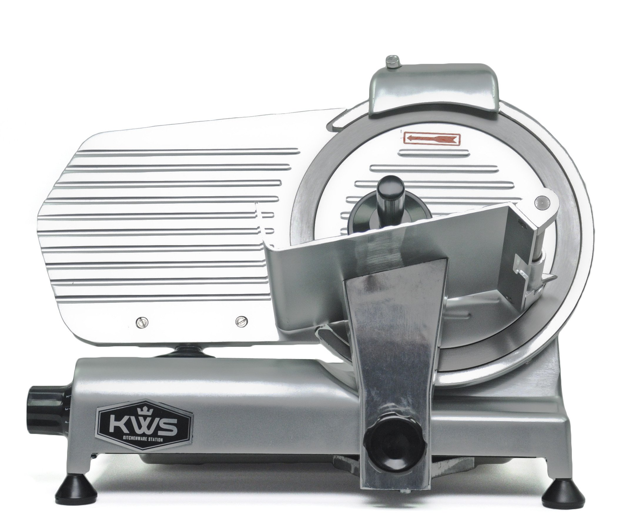 KWS Premium Commercial 320w Electric Meat Slicer 10'' Stainless Steel Blade, Frozen Meat/ Cheese/ Food Slicer Low Noises Commercial and Home Use