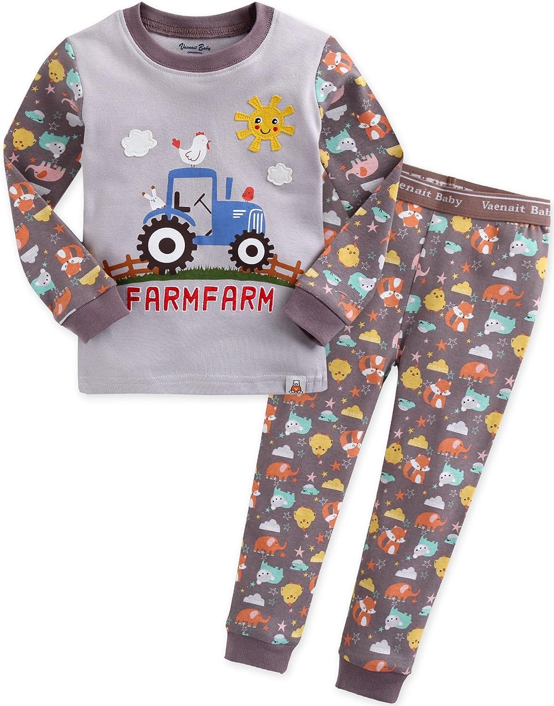 Vaenait baby 74-122 Kinder Jungen Bekleidung Langarm Auto Bauernhof Zweiteilig Schlafanzug Funny Farmfarm SWL_420